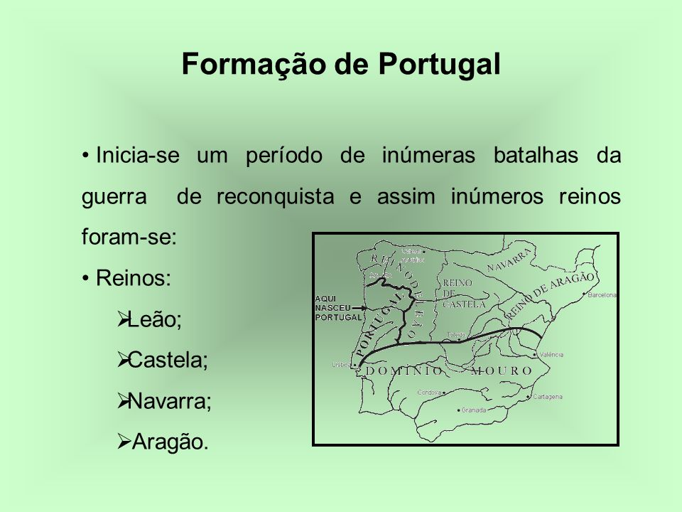 Inicia-se um período de inúmeras batalhas da guerra de reconquista e assim inúmeros reinos foram-se: Reinos: Leão; Castela; Navarra; Aragão. Formação