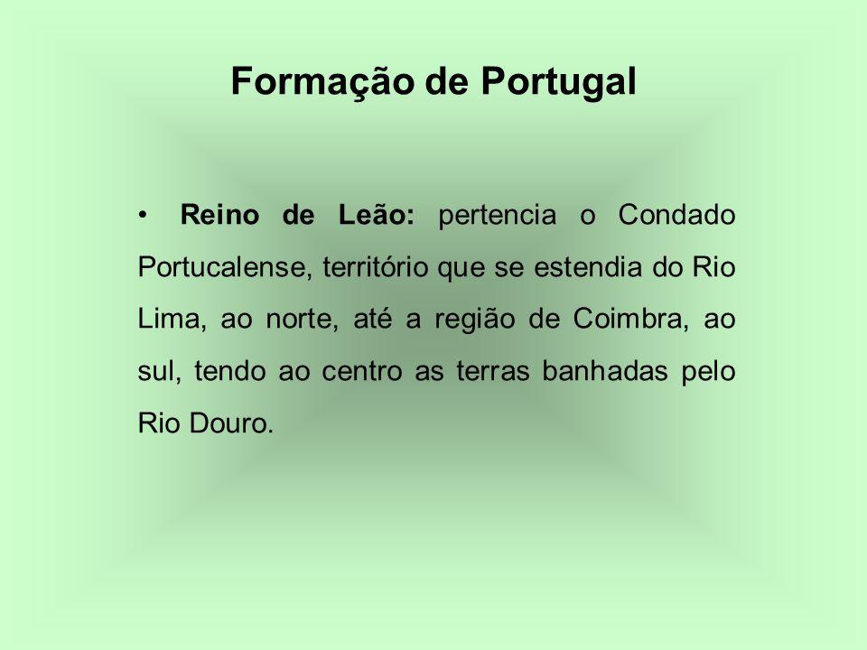 Reino de Leão: pertencia o Condado Portucalense, território que se estendia do Rio Lima, ao norte, até a região de Coimbra, ao sul, tendo ao centro as