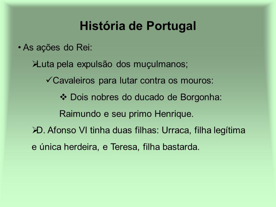História de Portugal As ações do Rei: Luta pela expulsão dos muçulmanos; Cavaleiros para lutar contra os mouros: Dois nobres do ducado de Borgonha: Ra
