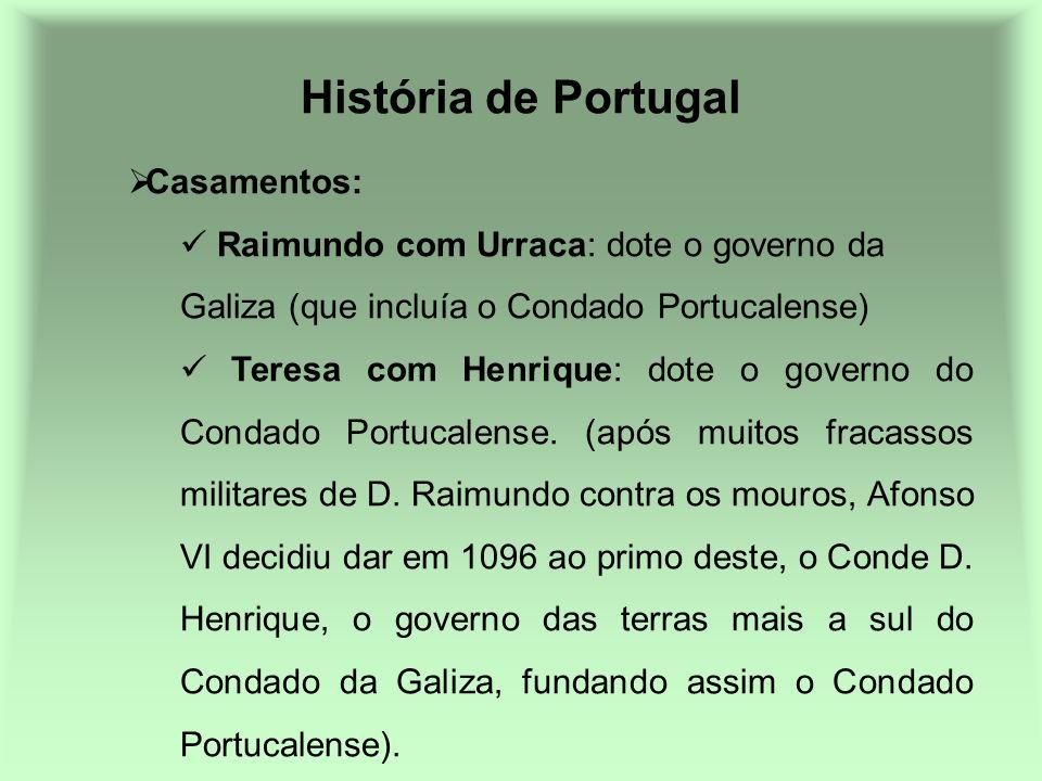 História de Portugal Casamentos: Raimundo com Urraca: dote o governo da Galiza (que incluía o Condado Portucalense) Teresa com Henrique: dote o govern