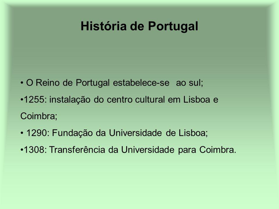 História de Portugal O Reino de Portugal estabelece-se ao sul; 1255: instalação do centro cultural em Lisboa e Coimbra; 1290: Fundação da Universidade