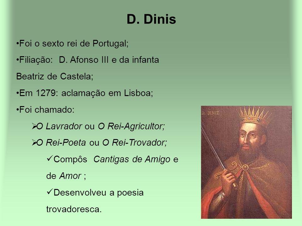 D. Dinis Foi o sexto rei de Portugal; Filiação: D. Afonso III e da infanta Beatriz de Castela; Em 1279: aclamação em Lisboa; Foi chamado: O Lavrador o