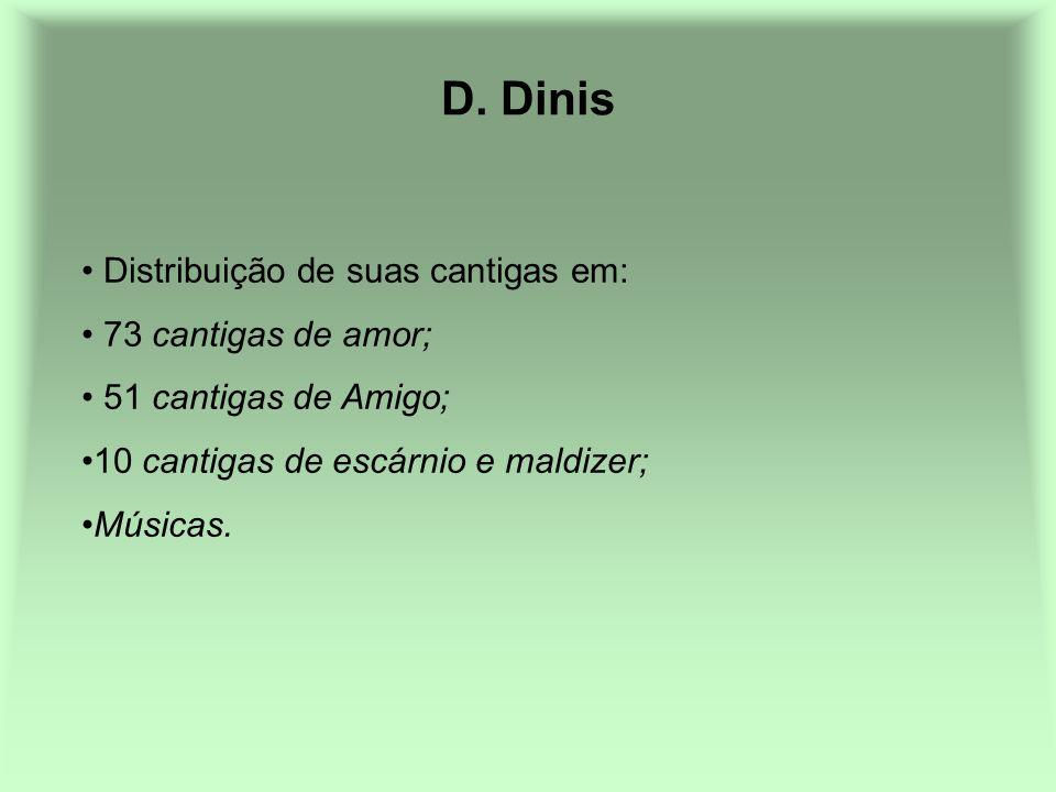 D. Dinis Distribuição de suas cantigas em: 73 cantigas de amor; 51 cantigas de Amigo; 10 cantigas de escárnio e maldizer; Músicas.