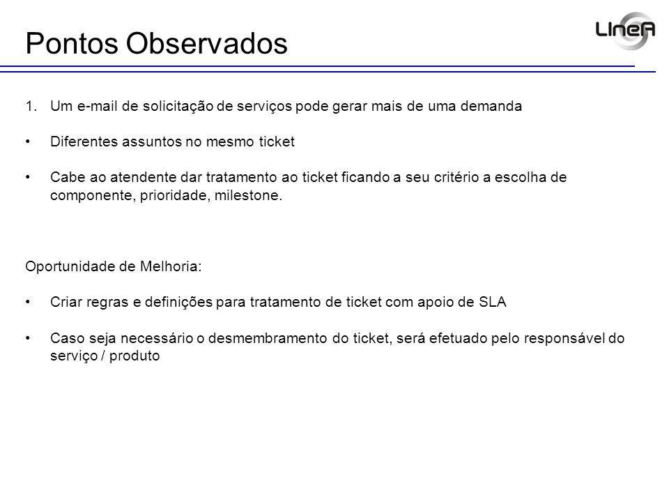 1.Um e-mail de solicitação de serviços pode gerar mais de uma demanda Diferentes assuntos no mesmo ticket Cabe ao atendente dar tratamento ao ticket f