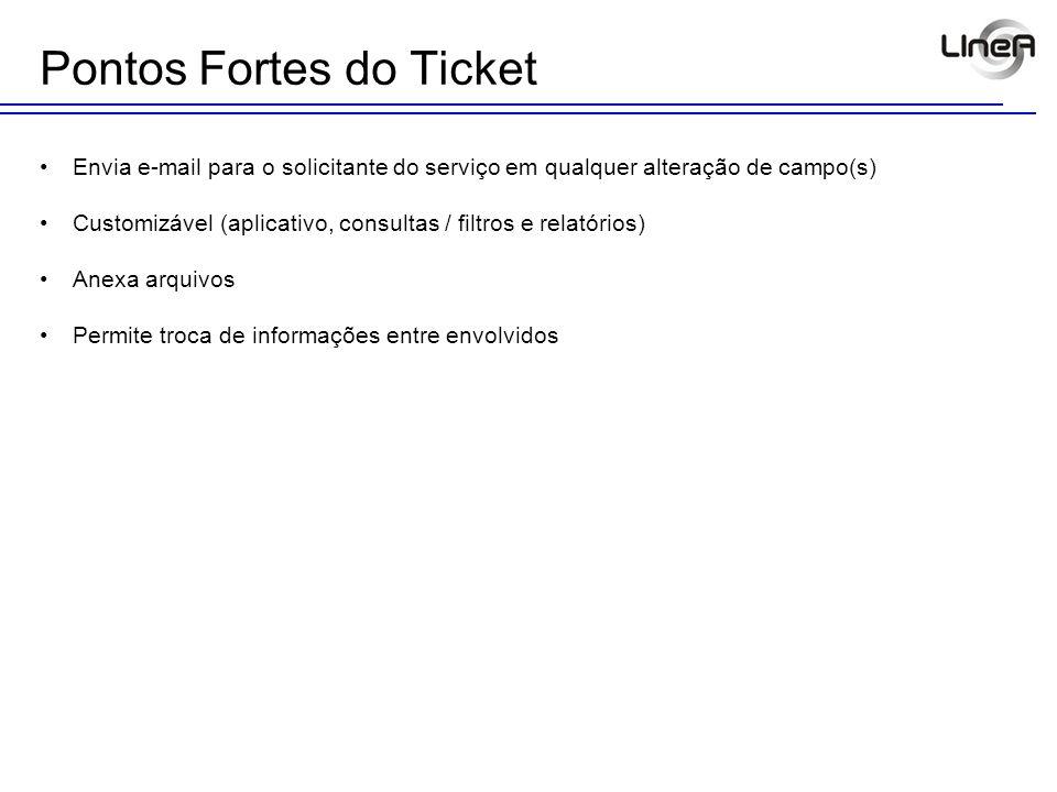 Pontos Fortes do Ticket Envia e-mail para o solicitante do serviço em qualquer alteração de campo(s) Customizável (aplicativo, consultas / filtros e r