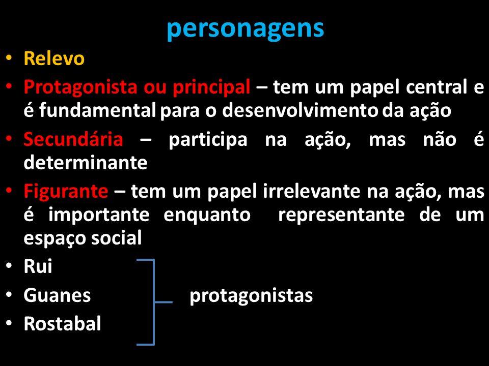 personagens Relevo Protagonista ou principal – tem um papel central e é fundamental para o desenvolvimento da ação Secundária – participa na ação, mas