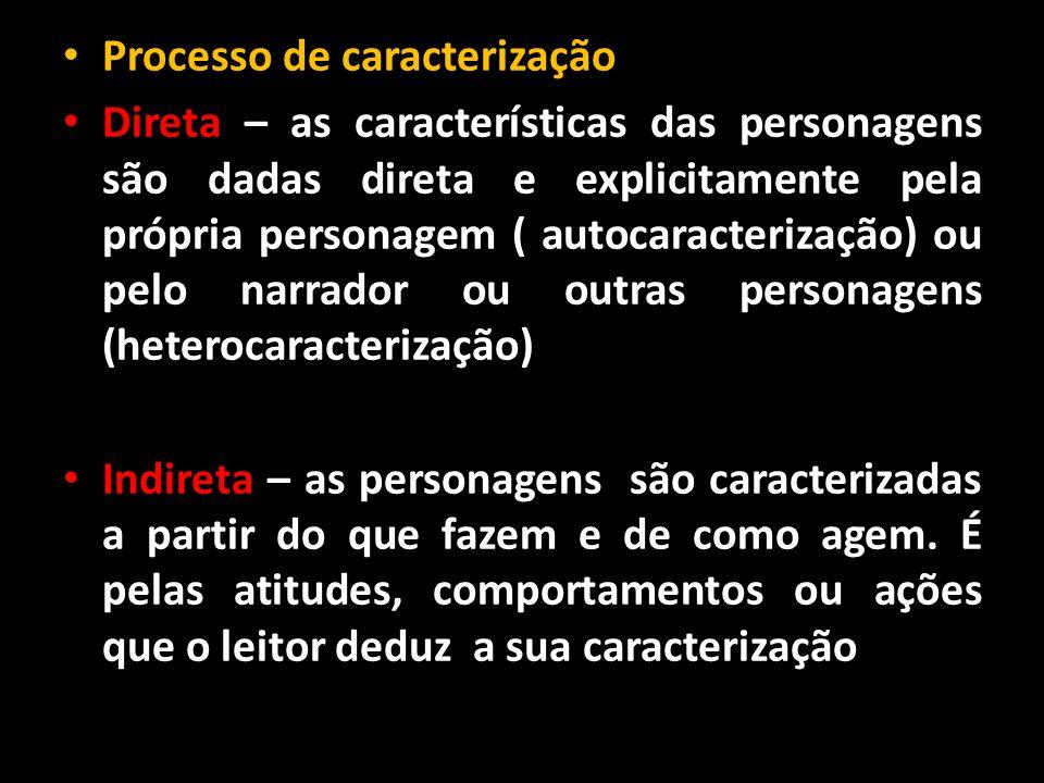 Processo de caracterização Direta – as características das personagens são dadas direta e explicitamente pela própria personagem ( autocaracterização)