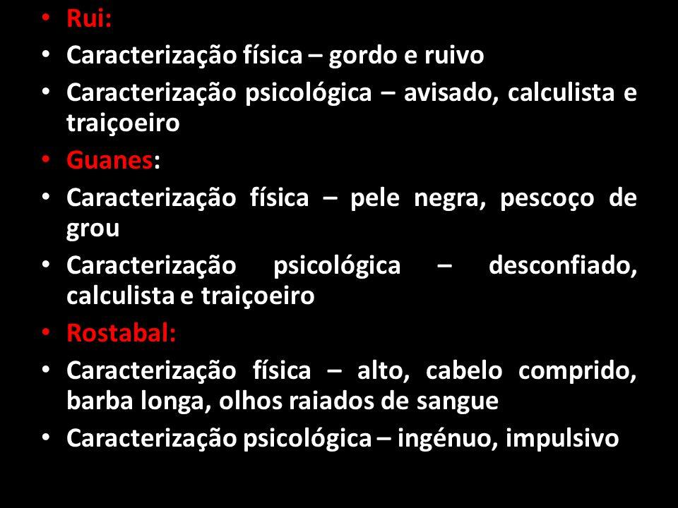 Rui: Caracterização física – gordo e ruivo Caracterização psicológica – avisado, calculista e traiçoeiro Guanes: Caracterização física – pele negra, p
