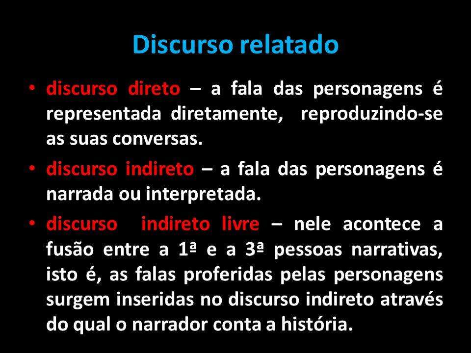 Discurso relatado discurso direto – a fala das personagens é representada diretamente, reproduzindo-se as suas conversas. discurso indireto – a fala d