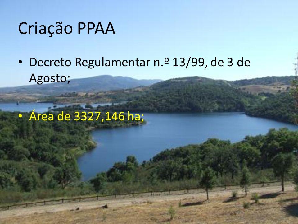 Criação PPAA Decreto Regulamentar n.º 13/99, de 3 de Agosto; Área de 3327,146 ha;