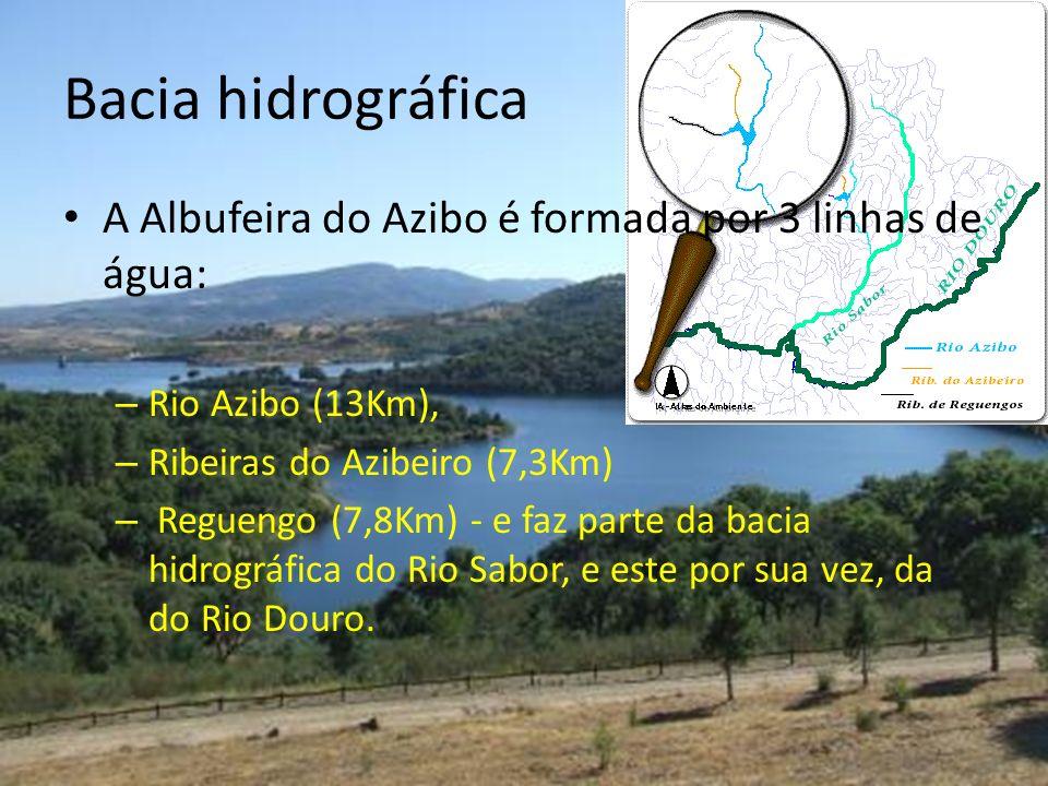 Bacia hidrográfica A Albufeira do Azibo é formada por 3 linhas de água: – Rio Azibo (13Km), – Ribeiras do Azibeiro (7,3Km) – Reguengo (7,8Km) - e faz