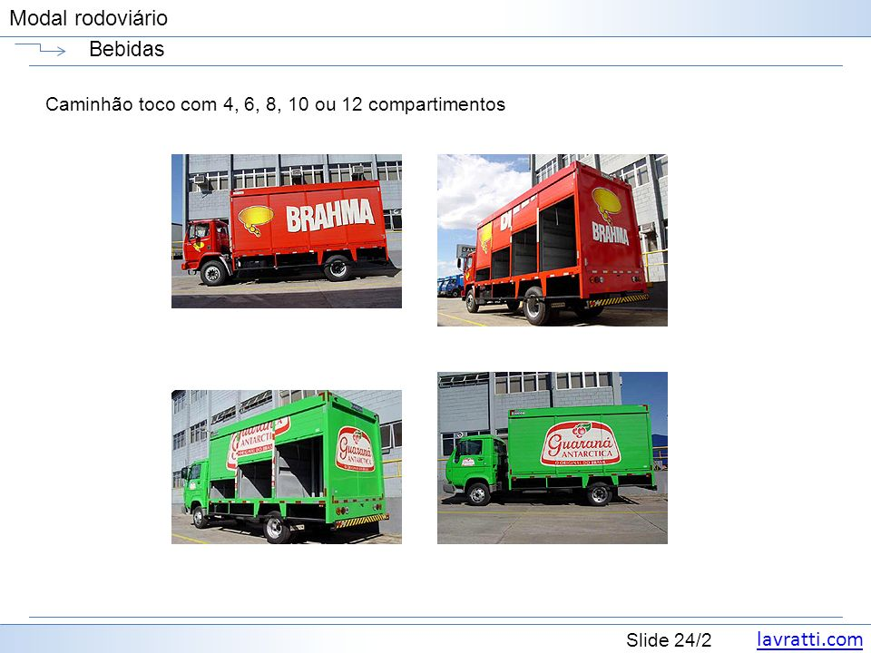 lavratti.com Slide 24/2 Modal rodoviário Bebidas Caminhão toco com 4, 6, 8, 10 ou 12 compartimentos