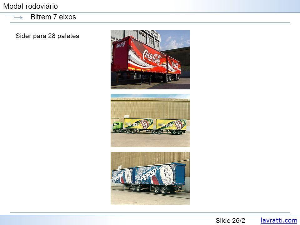 lavratti.com Slide 26/2 Modal rodoviário Bitrem 7 eixos Sider para 28 paletes