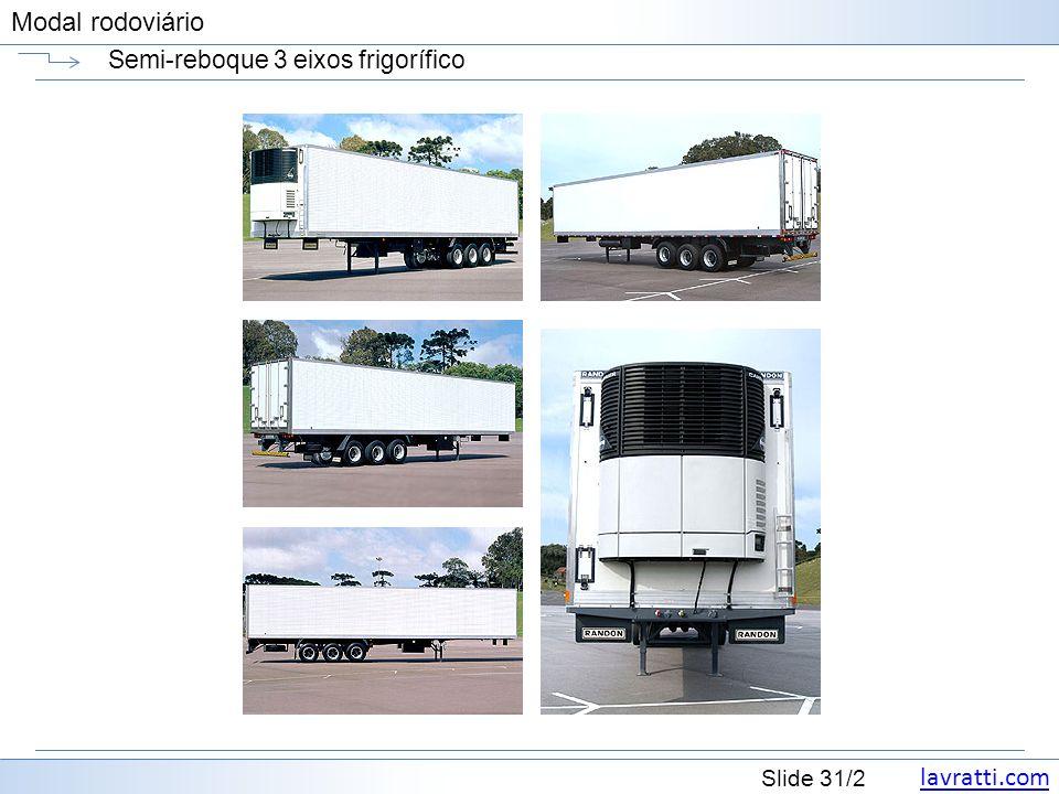 lavratti.com Slide 31/2 Modal rodoviário Semi-reboque 3 eixos frigorífico