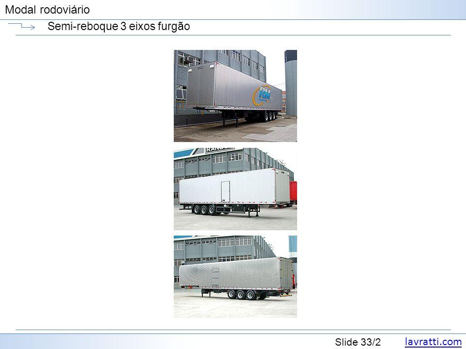 lavratti.com Slide 33/2 Modal rodoviário Semi-reboque 3 eixos furgão