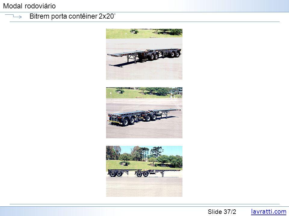 lavratti.com Slide 37/2 Modal rodoviário Bitrem porta contêiner 2x20