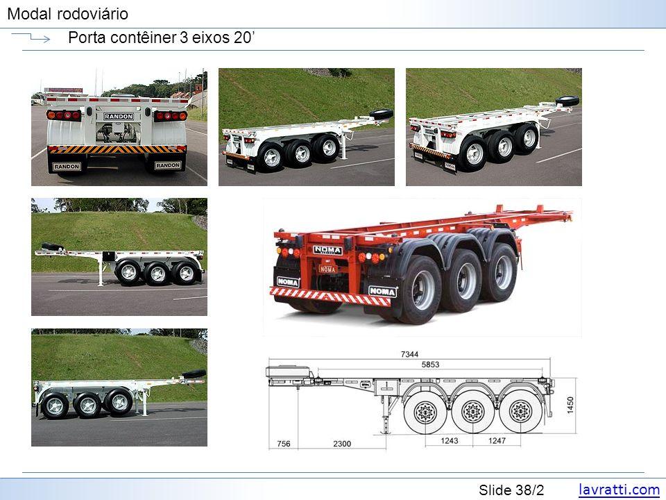lavratti.com Slide 38/2 Modal rodoviário Porta contêiner 3 eixos 20