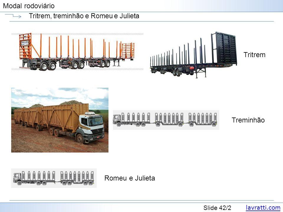 lavratti.com Slide 42/2 Modal rodoviário Tritrem, treminhão e Romeu e Julieta Tritrem Treminhão Romeu e Julieta