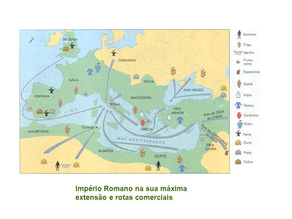 Império Romano na sua máxima extensão e rotas comerciais