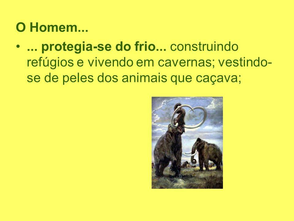 O Homem...... protegia-se do frio... construindo refúgios e vivendo em cavernas; vestindo- se de peles dos animais que caçava;