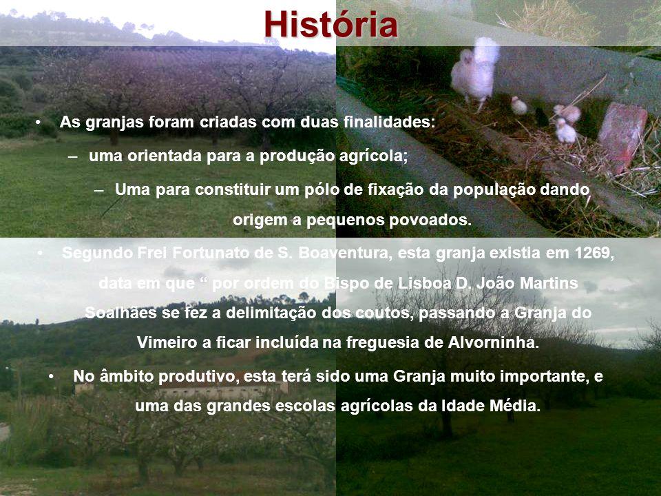As granjas foram criadas com duas finalidades: –uma orientada para a produção agrícola; –Uma para constituir um pólo de fixação da população dando origem a pequenos povoados.