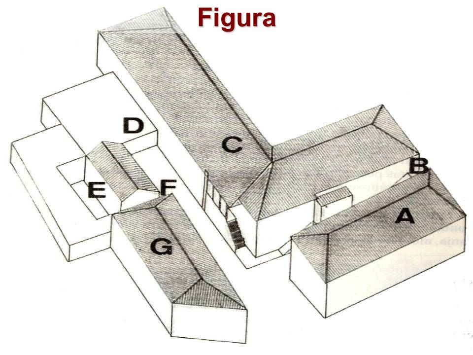 Edifício F e E Podem ver-se duas grandes manjedouras, que fazem supor tratar-se das cavalariças.