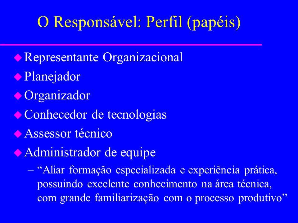 O Responsável: Atividades a Executar u Garantir a atualização e informação relativas ao desenvolvimento da tecnologia em sua especialidade u Acompanha
