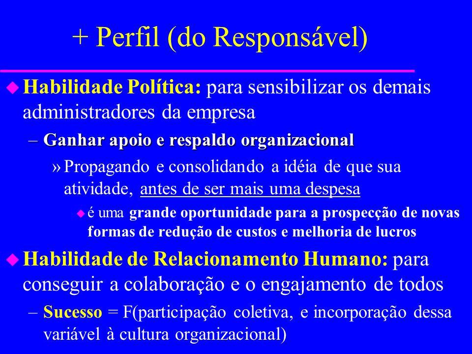 + Perfil (do Responsável) u Intensa vivência no processo industrial, para ter um acentuado nível de credibilidade na organização –Proposições e diretr