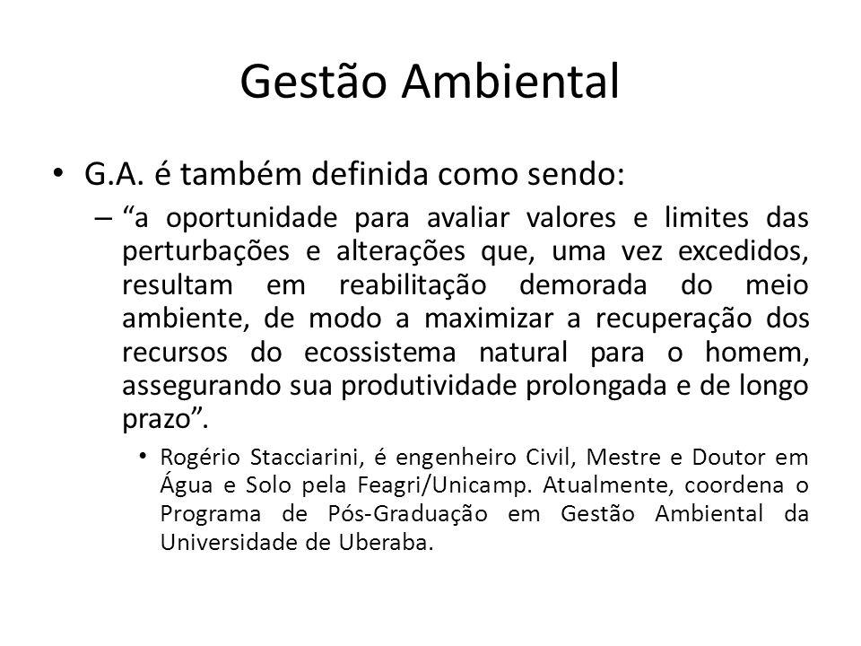 Gestão Ambiental G.A. é também definida como sendo: – a oportunidade para avaliar valores e limites das perturbações e alterações que, uma vez excedid