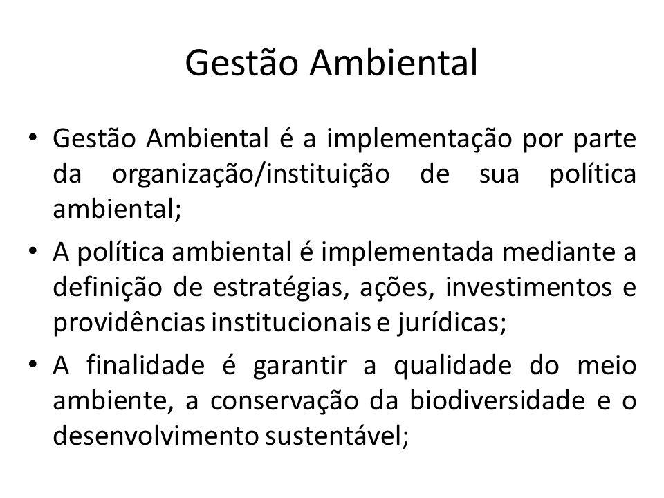 Gestão Ambiental Gestão Ambiental é a implementação por parte da organização/instituição de sua política ambiental; A política ambiental é implementad
