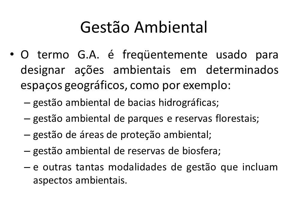 Gestão Ambiental O termo G.A. é freqüentemente usado para designar ações ambientais em determinados espaços geográficos, como por exemplo: – gestão am