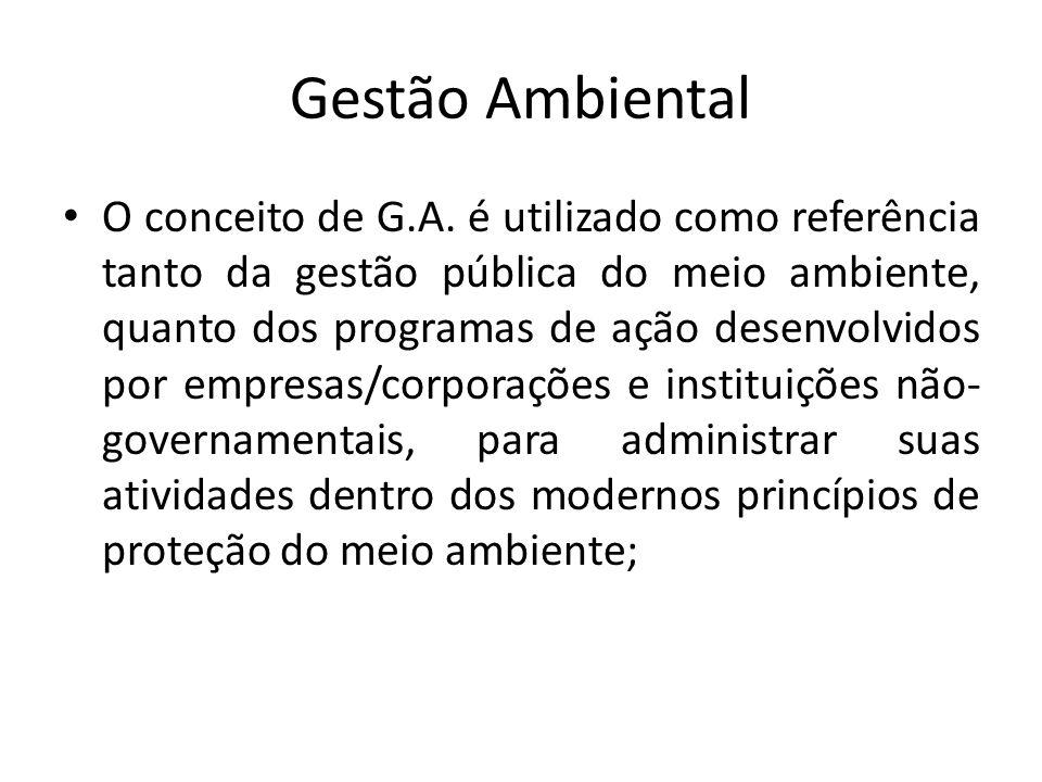Gestão Ambiental O conceito de G.A. é utilizado como referência tanto da gestão pública do meio ambiente, quanto dos programas de ação desenvolvidos p