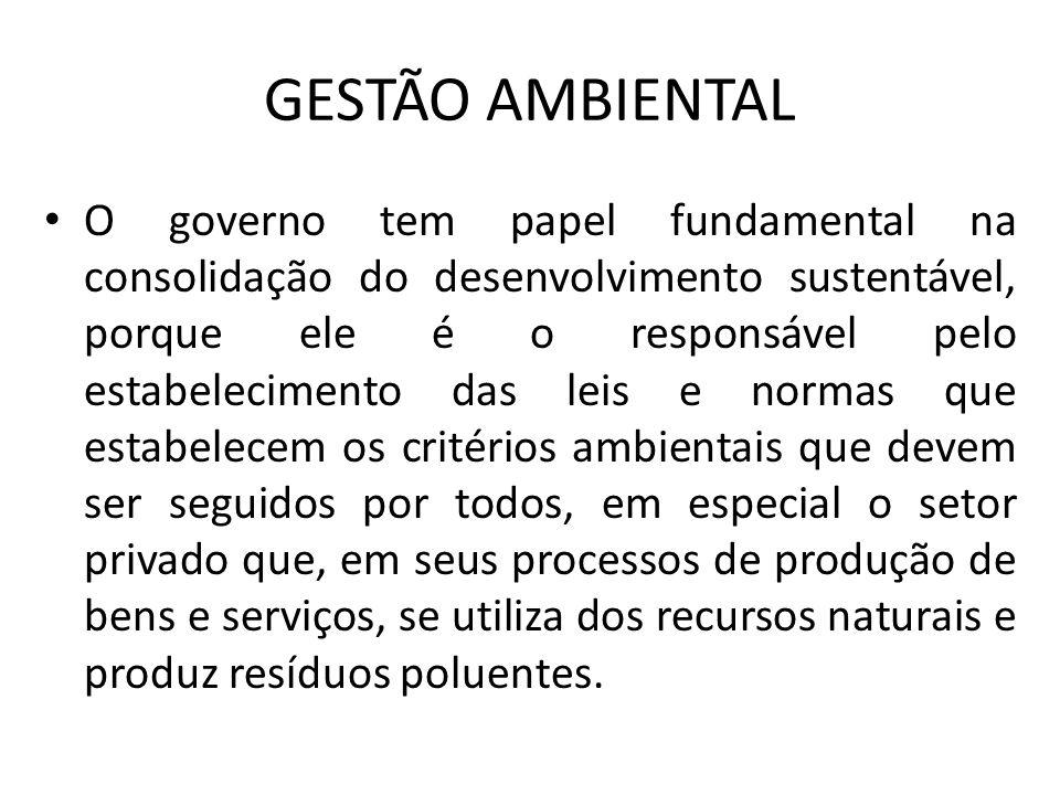 GESTÃO AMBIENTAL O governo tem papel fundamental na consolidação do desenvolvimento sustentável, porque ele é o responsável pelo estabelecimento das l
