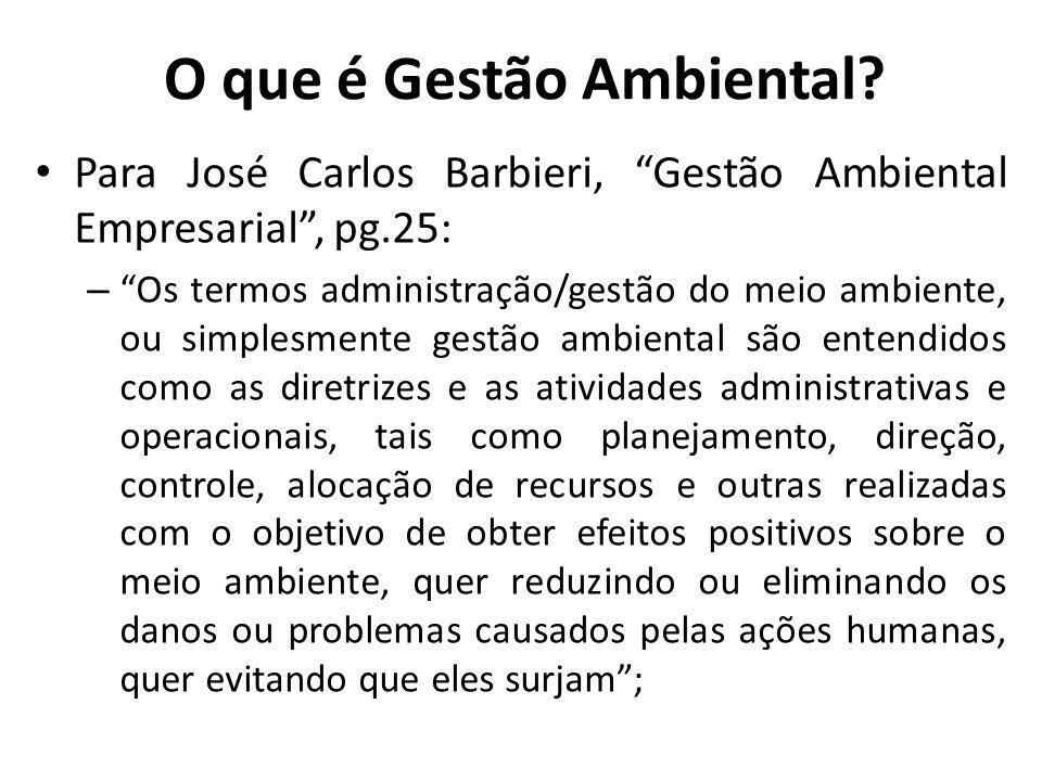 O que é Gestão Ambiental? Para José Carlos Barbieri, Gestão Ambiental Empresarial, pg.25: – Os termos administração/gestão do meio ambiente, ou simple
