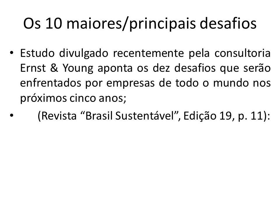 Os 10 maiores/principais desafios Estudo divulgado recentemente pela consultoria Ernst & Young aponta os dez desafios que serão enfrentados por empresas de todo o mundo nos próximos cinco anos; (Revista Brasil Sustentável, Edição 19, p.