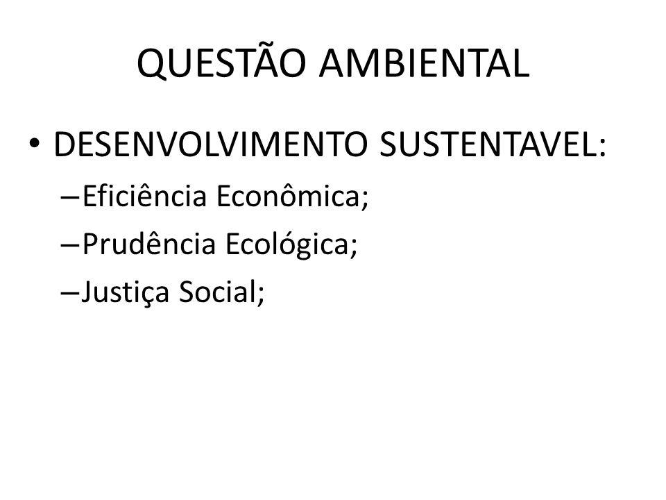 QUESTÃO AMBIENTAL DESENVOLVIMENTO SUSTENTAVEL: – Eficiência Econômica; – Prudência Ecológica; – Justiça Social;