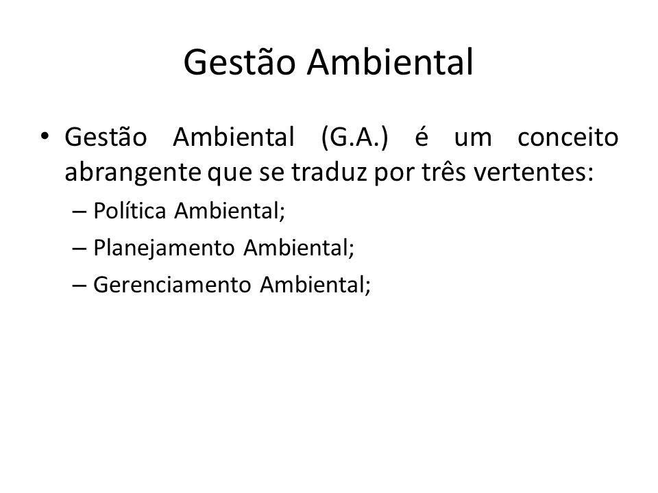 Gestão Ambiental Gestão Ambiental (G.A.) é um conceito abrangente que se traduz por três vertentes: – Política Ambiental; – Planejamento Ambiental; – Gerenciamento Ambiental;