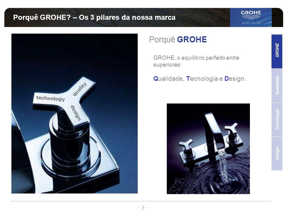 - 3 - Porquê GROHE? – Os 3 pilares da nossa marca Porquê GROHE GROHE, o equilíbrio perfeito entre superiores: Qualidade, Tecnologia e Design. Qualidad