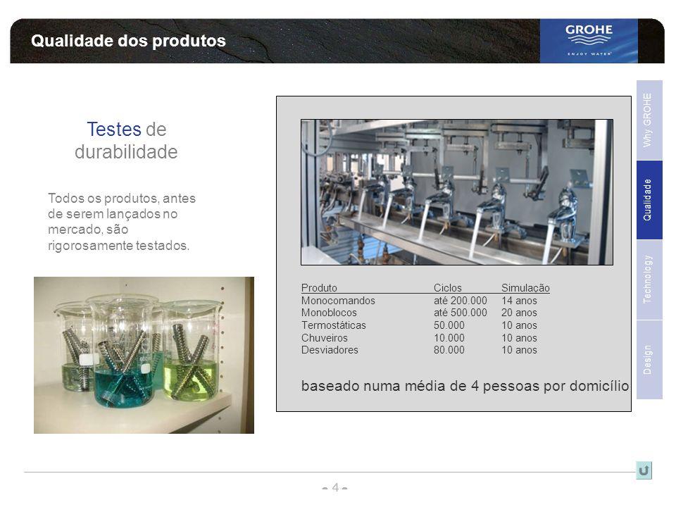 - 4 - - - Qualidade dos produtos Qualidade Why GROHE Technology Design Sales Support Testes de durabilidade Todos os produtos, antes de serem lançados