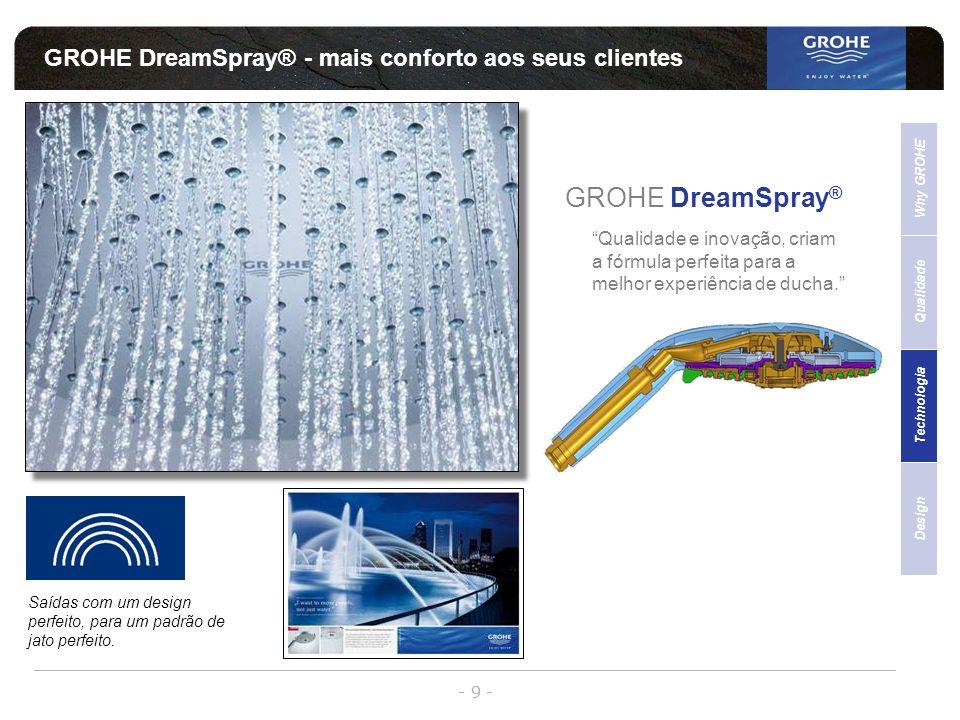 - 9 - GROHE DreamSpray® - mais conforto aos seus clientes Qualidade Why GROHE Technologia Design Sales Support GROHE DreamSpray ® Qualidade e inovação