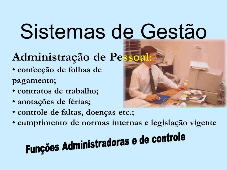 Sistemas de Gestão Administração de Pessoal : confecção de folhas de pagamento; contratos de trabalho; anotações de férias; controle de faltas, doença