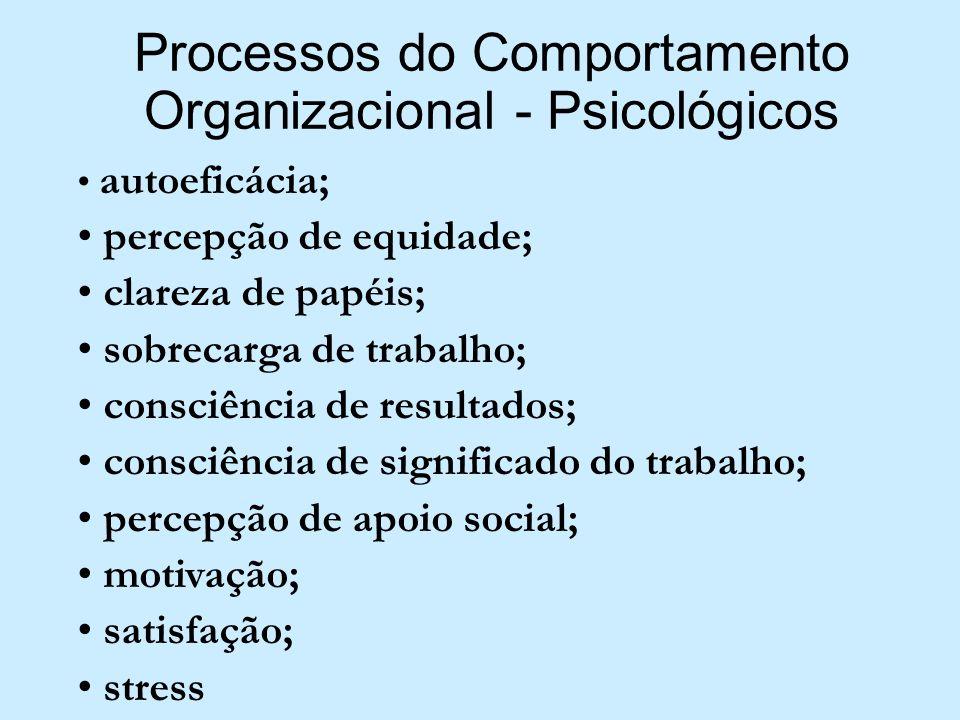 Processos do Comportamento Organizacional - Psicológicos autoeficácia; percepção de equidade; clareza de papéis; sobrecarga de trabalho; consciência d