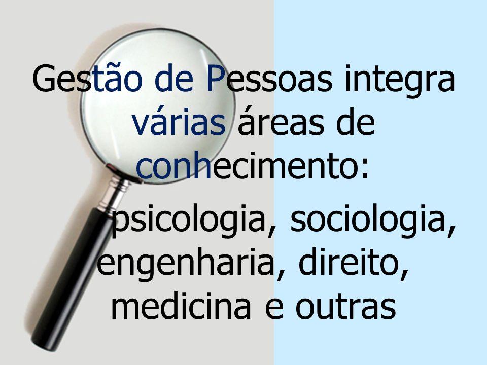 Gestão de Pessoas integra várias áreas de conhecimento: psicologia, sociologia, engenharia, direito, medicina e outras