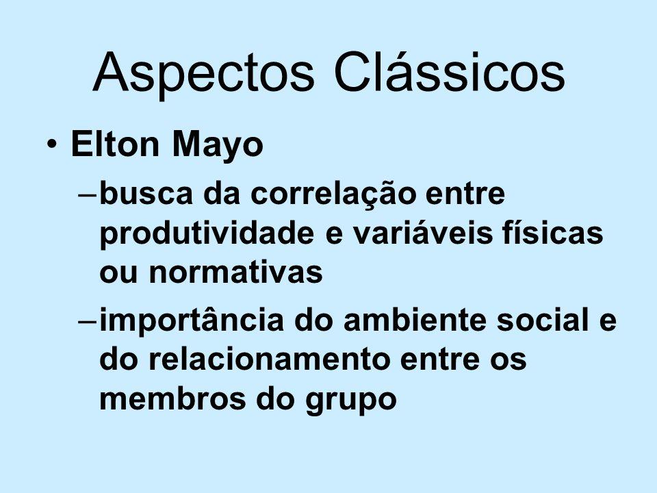Aspectos Clássicos Elton Mayo –busca da correlação entre produtividade e variáveis físicas ou normativas –importância do ambiente social e do relacion