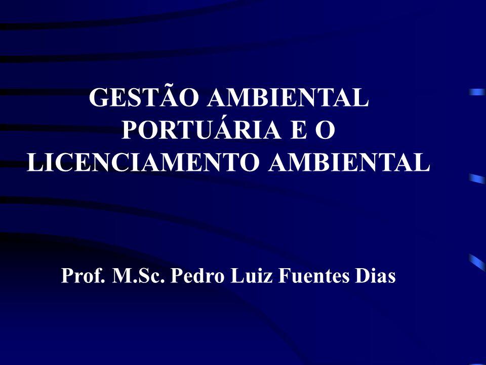 GESTÃO AMBIENTAL PORTUÁRIA E O LICENCIAMENTO AMBIENTAL Prof. M.Sc. Pedro Luiz Fuentes Dias