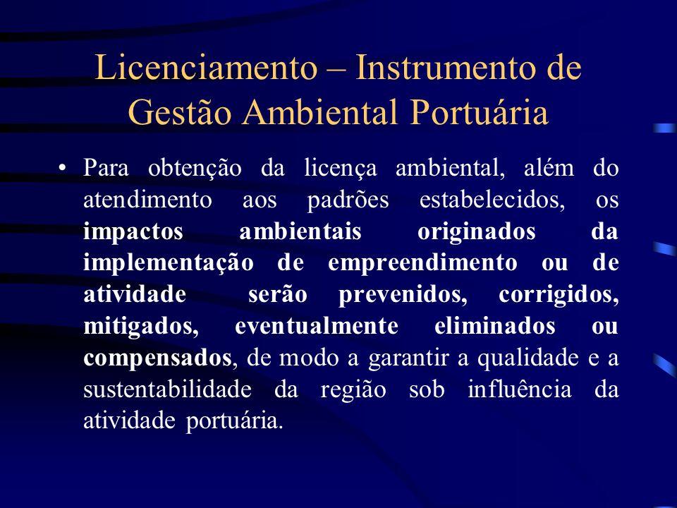 Licenciamento – Instrumento de Gestão Ambiental Portuária Para obtenção da licença ambiental, além do atendimento aos padrões estabelecidos, os impact