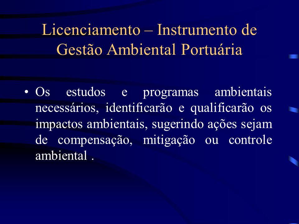 Licenciamento – Instrumento de Gestão Ambiental Portuária Os estudos e programas ambientais necessários, identificarão e qualificarão os impactos ambi