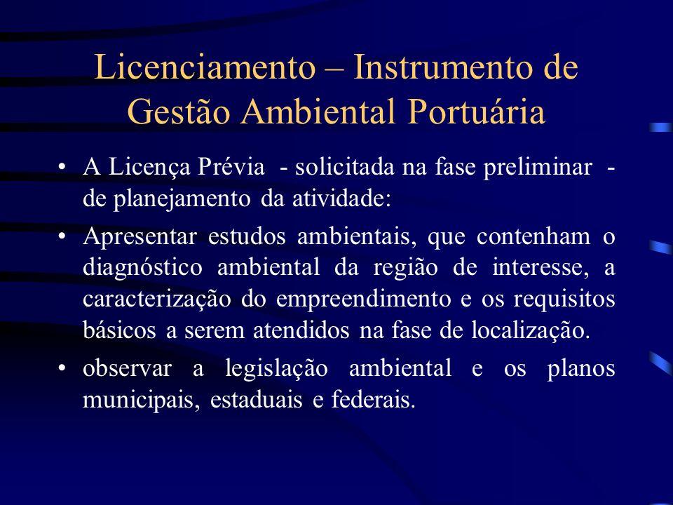 Licenciamento – Instrumento de Gestão Ambiental Portuária A Licença Prévia - solicitada na fase preliminar - de planejamento da atividade: Apresentar