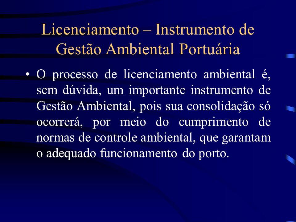 Licenciamento – Instrumento de Gestão Ambiental Portuária O processo de licenciamento ambiental é, sem dúvida, um importante instrumento de Gestão Amb