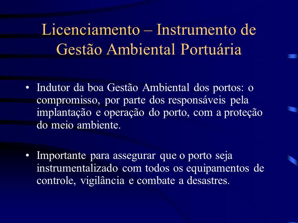 Licenciamento – Instrumento de Gestão Ambiental Portuária Instrumento capaz de garantir o reconhecimento público de que as atividades estão sendo desenvolvidas em conformidade com a legislação ambiental, em observância à qualidade ambiental e a sustentabilidade.